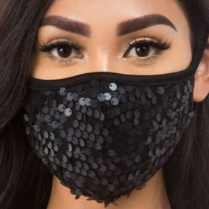 Black Sequined Fabric Facemask